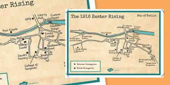 1916 Rising Dublin Map Display Poster - Easter 1916 Rising, irish history, map of dublin, display poster