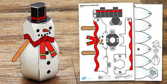 3D Balancing Snowman Paper Model - 3d, balancing, snowman, paper, model, craft, winter, christmas