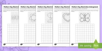 Mother's Day Illustration Enlargement Activity Sheet - Mother's Day Maths, maths, mother, mother's day, mum, ACMMG115, year 5, enlargement, enlarge illus