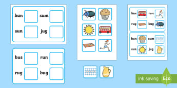 Workstation Pack:  Picture to CVC (u) Four Word Matching Activity