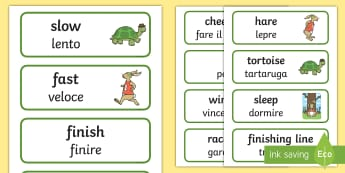 The Tortoise and The Hare Word Cards English/Italian - The Tortoise and The Hare Word Cards - visual aid, story books, EAL