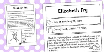 Elizabeth Fry Significant Individual Fact Sheet - fact, sheet