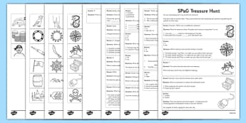 KS2 SPaG Treasure Hunt - spag, treasure hunt, spag assessment, treasure, hunt, spelling, punctuation, grammar