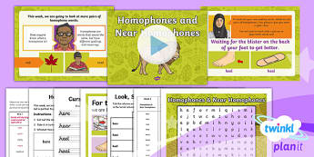 PlanIt Y3 Term 1A W5: Homophones and Near Homophones Spelling Pack