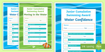 Junior Cumulative Swimming Certificates - physical education, swimming, aquatics, water confidence, moving in water, certificates, awards, ent