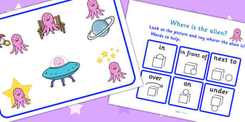 Where Is The Alien Preposition Game - space, planets, games, prepostions