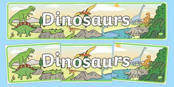 Dinosaurs Display Banner - Dinosaur, Display border, border, display, history, t-rex, stegosaurus, raptor, iguanodon, tyrannasaurus rex
