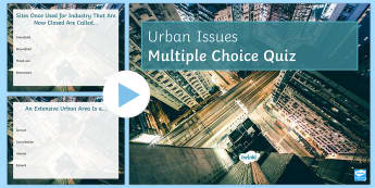 Urban Issues Quiz 1 PowerPoint - Urban Issues and Challenges AQA GCSE, quiz, powerpoint, revision