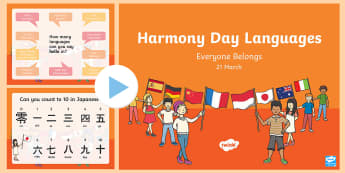 Harmony Day Languages PowerPoint - Harmony Day, language, culture, diversity, difference, acceptance,Australia