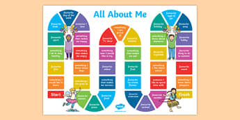 All About Me Board Game - all about me, board game, activity, game, ourselves