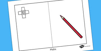 Malta Flag Colouring Sheet - geography, countries, colour, malta