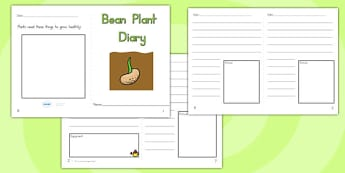 Bean Plant Diary Writing Frame - bean plant, beans, science, bean