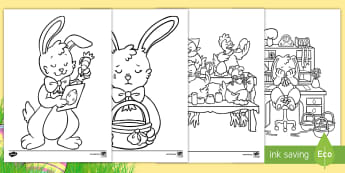 Saving Easter Colouring Pages - Children's Books, Saving Easter, bunny, eggs, colour
