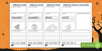 Halloween Themed Differentiated Sentence Unscramble