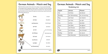 German Animals Match and Say Worksheet - german, animals, match, say, worksheet