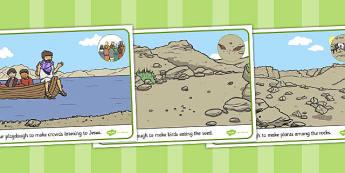 The Sower and the Seeds Playdough Mats - parables, seeds, mats