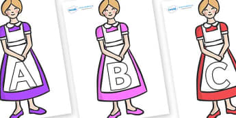A-Z Alphabet on Maids - A-Z, A4, display, Alphabet frieze, Display letters, Letter posters, A-Z letters, Alphabet flashcards