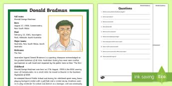 Sir Donald Bradman Quiz Activity Sheet - Cricket,Australia, worksheet,