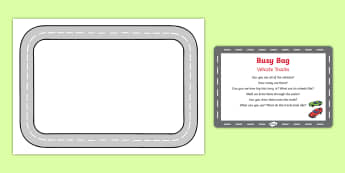 Vehicle Tracks Busy Bag Prompt Card and Resource Pack - Transport, Travel, track, paint, print, gross motor, fine motor, vehicle