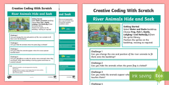 River Animals Hide and Seek Scratch Activity Sheet - worksheet, computing, programming, coding, algorithms, instructions, commands, Scratch