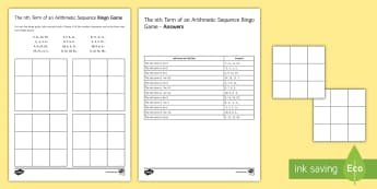 The nth Term of Arithmetic Sequences Bingo - nth term, generate, generating, sequence, arithmetic sequences, bingo.