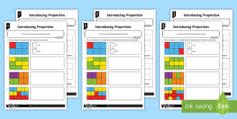 Introducing Proportion Differentiated Activity Sheets - Ratio and Proportion, proportion, comparison, group, fraction, y6, year 6, ks2, maths
