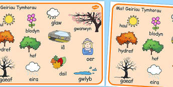 Welsh Season Word Mat - welsh, season, word mat, word, mat, words