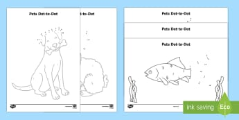 Pets Dot to Dot Activity Sheet - EYFS, Early Years, Pets, Animals, National Pet Month, cat, dog, rabbit, number recognition, number s