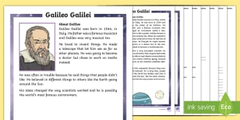 KS1 Galileo Galilei Differentiated Reading Comprehension Activity - solar system, scientist, astronomer, astronomy, stars, planets, the sun, Earth, move, orbit, round,