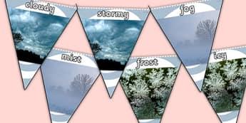Weather Photo Display Bunting - weather bunting, weather condition bunting, weather photo bunting, weather display bunting, weather photos, weather display