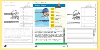 Australian Rio Olympian Joshua Beaver Handwriting Practice Activity Sheets-Australia, worksheet