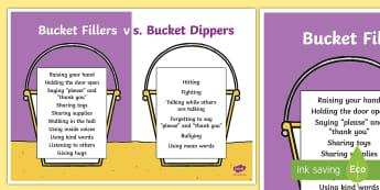 Bucket Filler vs. Bucket Dipper Display Poster - Bucket Dipper, Bucket Filler, Classroom Management,