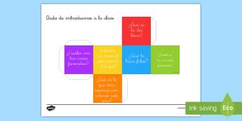Modelo de papel: Dado con preguntas para introducirse - dado, modelo de papel, introducción, introducirse, juego, maqueta, trabajo en grupo, grupos, vuelta