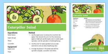 Caterpillar Salad Recipe - The Crunching Munching Caterpillar, Sheridan Cain, life cycle of a butterfly, caterpillar, butterfly