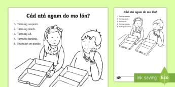 ROI What Do I Have for My Lunch? Worksheet Write Up Activity Sheet Gaeilge - ROI - Irish Language Week Gaeilge Resources - 1st-17th March,Irish