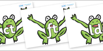 Final Letter Blends on Frogs - Final Letters, final letter, letter blend, letter blends, consonant, consonants, digraph, trigraph, literacy, alphabet, letters, foundation stage literacy