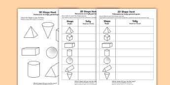 3D Shape Hunt Activity Sheet English/Polish - 3D Shape Hunt Worksheet - 3d, shape, hunt, worksheet, sheet, 3dshape, 3d sape, shaoe, Polish transla