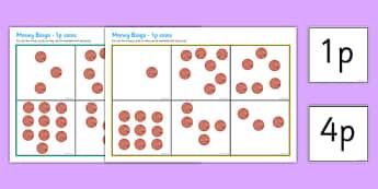 Money Bingo To 10p Using 1p Coins - money, bingo, lotto, coins