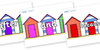 Connectives on Beach Huts - Connectives, VCOP, connective resources, connectives display words, connective displays