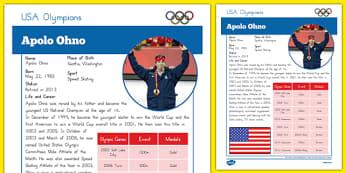 USA Olympians Apolo Ohno Fact File