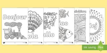 Hello in Different Languages Mindfulness Colouring Pages - mindful, mindfulness, colouring, colours, hello, hola ,hallo, ciao, kon'nichiwa, hej, fine motor, r