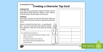 Creating a Character Top Card Activity Sheet, worksheet