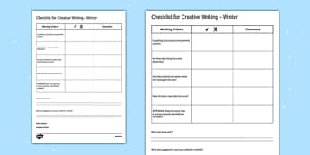 Writing Prompts Winter Checklist - KS3, KS4, Writing Prompts, Creative Writing, Winter, English, Snowmen, Snow, Christmas
