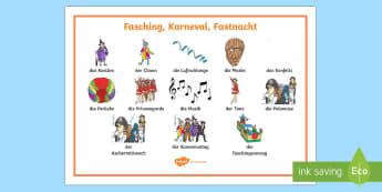 Fasching Wortschatz: Querformat - Fasching, Fastnacht, Karneval, Kostüm, Verkleidung ,German