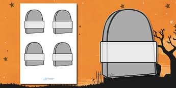 Editable Halloween Grave Stones Self  Registration - Halloween, pumpkin, witch, bat, scary, black cat, Self registration, register, editable, labels, registration, child name label, printable labels, mummy, grave stone, cauldron, broomstick, haunted