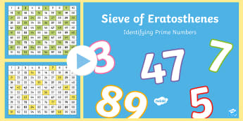 Sieve of Eratosthenes PowerPoint - KS2, Maths, prime numbers, identify prime, non prime, multiples, factors, interactive
