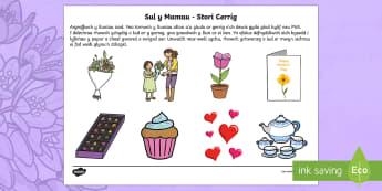 Sul y Mamau Lluniau i'w Torri Allan Cardiau Trefnu Stori - Sul y Mamau, Mother's Day, blodau, flowers, cerdyn, card, anrheg, gift, present, arbennig, special,