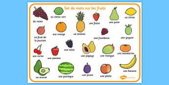 Set de mots sur les fruits French - french, fruit, word mat, word, mat, food
