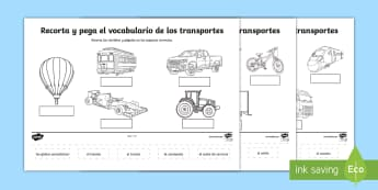 Transport Scene Labelling Cut and Stick Activity Sheet - Spanish, KS2, transport, activity, sheet, worksheet