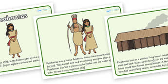 Pocahontas Story - Pocahontas, Native American, natives, sequencing, story sequencing, story resources, A4, cards, 1595, Virginia, village, fighting, colonists, history
